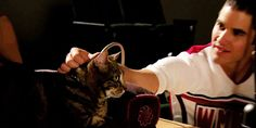 Darren Criss | 28 Ridiculously Hot Celebrities With Incredibly Cute Cats. I always loved this scene from Glee