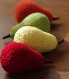 pears - these are knit from my pattern. gorgeous photo:)