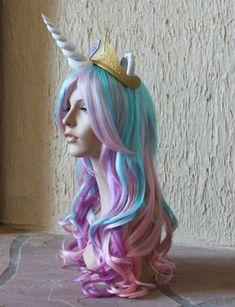 Princess Celestia costume cosplay wig - blue purple pink wig / my little pony / unicorn / friendship is magic- FOR KINDRA Costume Wigs, Costume Makeup, Cosplay Wigs, My Little Pony Costume, My Little Pony Party, My Little Pony Unicornio, Princesa Celestia, Josie Loves, Little Poney