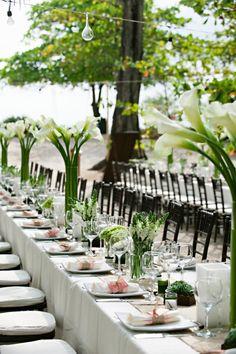 Emerald wedding reception tables settings