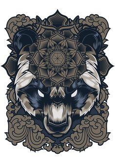 Panda Bear by Shulyak Brothers, via Behance Tattoo Drawings, Art Drawings, Sketch Tattoo, Illustrations, Illustration Art, Drawn Art, Doodles Zentangles, Bear Art, Tatoos