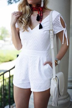 Last week I was wearing this adorable white eyelet romper in over 80 degrees, and… Fashion Wear, Look Fashion, Girl Fashion, Fashion Outfits, Womens Fashion, White Dress Summer, Romper Outfit, Short Jumpsuit, Asian Fashion