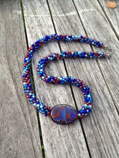 Kumihimo Blue and Red Beaded Necklace with Lampwork Focal Bead/ Free Shipping to the US