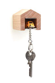 Garage inkl. Fiat 500 - Schlüsselanhänger
