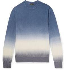 <a href='http://www.mrporter.com/mens/Designers/Berluti'>Berluti</a>'s sweater is hand-dipped twice for a unique tie-dye effect. Spun in Italy from a beautifully soft blend of cashmere and silk, this sky-blue, off-white and grey design has a comfortable fit defined with lightly ribbed trims. Try it with a suede bomber jacket and chinos during your downtime.