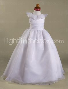 A-line Scoop Floor-length Train Organza Satin  First Communion Dress -