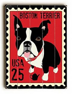 This Boston Terrier Postage Stamp wood sign by Artist Ginger Oliphant is sure to bring style to your space and a smile on your face.