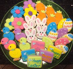 Easter Platter, bunny face, chicks, flowers, eggs, carrots, Happy Easter decorated sugar cookies by I Am the Cookie Lady