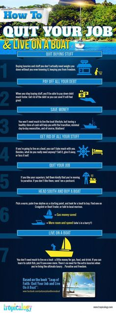 Quit your job and live on a boat fun boat diy diy ideas tips life hacks life hack infographic infograph