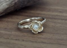 14k yellow gold rose engagement ring, nature inspired jewelry by efratdeutsch on Etsy https://www.etsy.com/listing/179340044/14k-yellow-gold-rose-engagement-ring