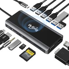 ikling 15-in-1 USB C Hub Cool Technology, Technology Gadgets, Futuristic Technology, Usb Gadgets, Data Transmission, Docking Station, Laptop Accessories, Card Reader, Tecnologia