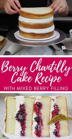This berry Chantilly cake is made with fluffy white cake layers silky-smooth mascarpone cream cheese frosting and mixed berry filling! It is absolutely delicious and the perfect berry cake Cake Filling Recipes, Easy Cake Recipes, Sweet Recipes, Baking Recipes, Dessert Recipes, Cake With Filling, Rasberry Cake Filling, Homemade Frosting Recipes, Cupcake Frosting Recipes
