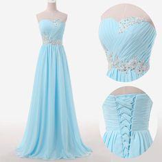 2015 New Baby Blue Long Evening Prom Dress Wedding Bridesmaid Dresses US SZ 6 #Handmade #Corset #Formal