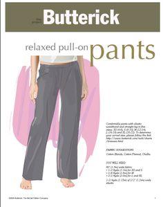 butterick free pants pattern
