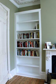 23 Alcove Shelving Ideas for your Living room | JV Carpentry Alcove Bookshelves, Bookcase Shelves, Built In Bookcase, Bookcase Plans, Wooden Bookcase, Bookcases, Alcove Storage, Alcove Shelving, Houses
