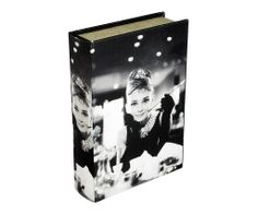 Storage Book - Audrey Hepburn   Audrey Hepburn Storage Book is an attractive storage alternative, displaying a picture of Audrey Hepburn in the film Breakfast at Tiffany's. A magnetic storage container designed to look like an fashionable book with a variety of stylish covers, perfect for displaying on coffee tables, shelves or sideboards.   Height : 30cm Width : 21.5cm Depth : 7cm