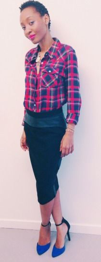 leather panel skirt plaid shirt newlook heels.