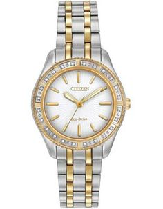 Citizen Eco-Drive Ladies Carina 24 Diamond Dress Watch - White Dial -  Two-Tone 348ebd48c