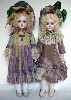 I called these my two French Girls... oh yes, I tried to keep them for myself but never could. On the left is an A12T and on the Right a Portrait Jumeau... sold the dolls in other costumes... I kept the Mary Lambeth dresses for myself...Emily Hart