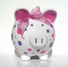 Personalized Polka Dot Ceramic Piggy Bank por SamselDesigns                                                                                                                                                                                 Más