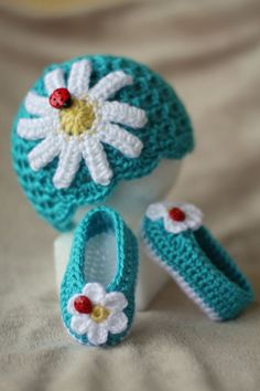 Crochet Baby Hat - Crochet Baby Booties - Spring and Summer Hat and Booties. $40.00, via Etsy..