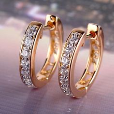 Cheap earrings long, Buy Quality earrings container directly from China earrings letter Suppliers: Fashion Jewelry for Women Gold Platinum Plated Hoop Earrings White Austrian Crystal Zirconia Round Brincos Earrin Diamond Jewelry, Gold Jewelry, Diamond Earrings, Jewelery, Jewelry Accessories, Jewelry Design, Women Jewelry, Fashion Jewelry, Diamond Stud