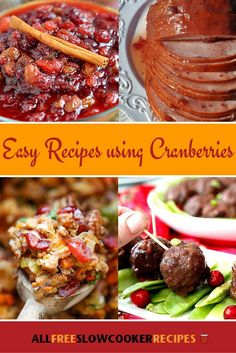 15 Cranberry Recipes: Best Slow Cooker Recipes Using Cranberries | These recipes with cranberries make for great Thanksgiving recipes!