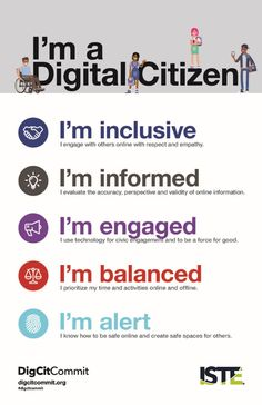 Infographic: I'm a digital citizen! Elementary Counseling, Career Counseling, Elementary Schools, Physical Education Games, Character Education, Good Citizen, Guidance Lessons, Digital Citizenship, Online Lessons