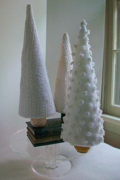 Vintage Fabric Set of 3 White Christmas Trees CIJ by sammysgrammy, $70.00