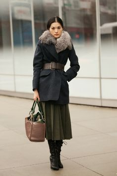 Fur collared belted coat