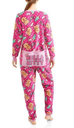 Hello Kitty Drop Seat Christmas Fleece Pajamas Union Suit Adult One Piece 4153a1abd