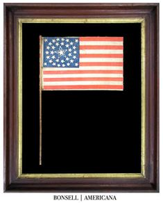 34 Star Antique Flag with Medallion Star Pattern and Large Haloed Center Star | A Civil War Era Example