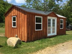 Here is a very cost effective solution of West Quebec Shed Company small cottage the comes fully built, ready to use. The size is 12 x 24 and you can add whatever windows and doors you want. Custom Sheds, Small Cottages, Quebec, Windows And Doors, Outdoor Structures, Building, Small Cottage Homes, Quebec City, Buildings