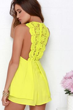 Cute Chartreuse Romper - Lace Romper - Sleeveless Romper - $48.00