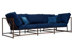 ICFF 2014 - Stephen Kenn & Simon Miller - Natural Indigo hand dyed canvas sofa with aged copper frame and leather straps.