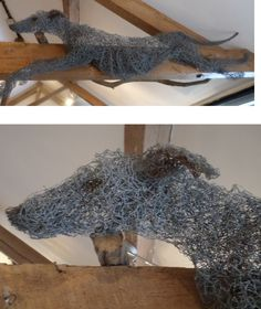 Greyhound Wire Wall Hanging Sculpture by Paula Joule Blake at Stockbridge Gallery Dogs in Art