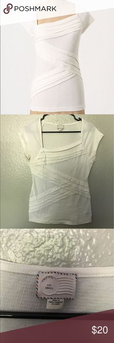 Anthropologie Postmark Slanted Layers Top White Anthropologie Postmark Slanted Layers Short Sleeve Top - White- Size S Anthropologie Tops Tees - Short Sleeve