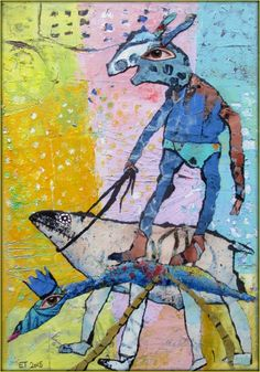Elke Trittel acrylic collage on canvas 24x29cm