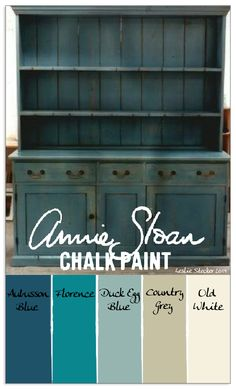 COLORWAYS Layering Annie Sloan Chalk Paint in Aubusson Blue, Florence, Duck Egg Blue, Country Grey, and Old White would result in a finish like the one shown on this charming Stepback Cupboard