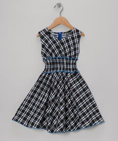 Take a look at this Green & Blue Plaid Square Neck Dress - Toddler & Girls on zulily today!