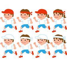 フリーイラスト, ベクター画像, EPS, 年中行事, 運動会(体育祭), 10月, 学校, 徒競走(かけっこ), 走る, 人物, 子供, 女の子, 男の子, 学生(生徒), 小学生, 体操服(体操着), 紅白帽, はちまき