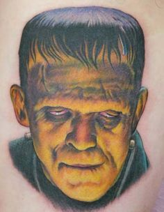 A color tattoo piece of Frankenstein by artist Shane O'Neill. | Intenze ink