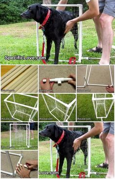 How to Make PVC Dog Wash Certainly an easier way to bathe a large dog outside in warm weather.Less chase. Love this.