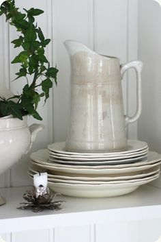 large ironstone pitcher