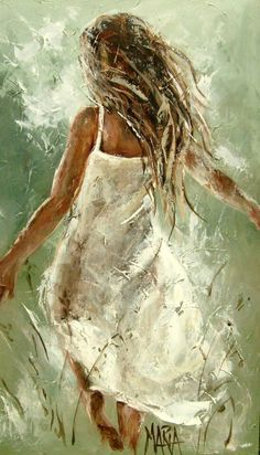 Run Away - acrylic by ©Maria Magdalena Oosthuizen - www.mariaart.co.za movement, sundress, flowing hair, grasses