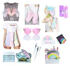 """""""UNICORN BLOOD🦄🌈☁️"""" by amarysbeth-com on Polyvore featuring Y.R.U., Sugarbaby, Forever 21, Local Heroes, Rad+Refined, Jazzelli Designs, Unicorn Lashes, FCTRY, Devinah Cosmetics and Lime Crime"""