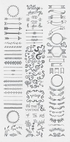 Buy Hand Drawn Vintage Elements Collection by egirldesign-vectors on GraphicRiver. Hand drawn vintage elements collection A set of 111 hand drawn vintage elements – dividers, frames, ribbons, phrases . Bullet Journal Inspo, Bullet Journal Vintage, Borders Bullet Journal, Bullet Journal Headers, Bullet Journal Banner, Bullet Journal Writing, Bullet Journal Aesthetic, Bullet Journal Ideas Pages, Bullet Journal Frames