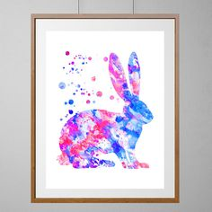 Feldhase, Aquarell Abbildung, Kinderzimmer Bauernhof Kunst Poster Lapin Poster, Kaninchen Kunst Home Decor, Geschenk für Kinder [Nr. 70]