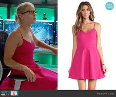 "Felicity Smoak (Emily Bett Rickards) wears this pink cami skater dress in this episode of Arrow, ""Fallout"". It is the Joie Viernan Cotton Pique Dress in Bougainvillea. Grey Leather Jacket, Floral Skater Dress, Emily Bett Rickards, Ladies Dress Design, Flare Dress, Fit And Flare, Fashion Outfits, Felicity Smoak, Arrow"