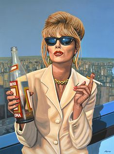 Realistic acrylic painting of the British actress Joanna Lumley in her famous role as Patsy Stone in Absolutely Fabulous, painted by the dutch fine artist Paul Meijering - The Original painting is 120 x 90 cm and for sale